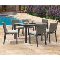 Product photograph showing Gardenia 150cm Dark Grey Garden Table And Gardenia Chairs - Grey 4 Chairs