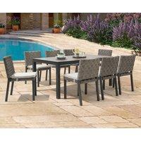 Product photograph showing Gardenia 180cm Dark Grey Garden Table And Gardenia Chairs - Grey 6 Chairs