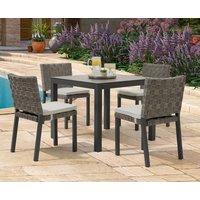 Product photograph showing Gardenia 90cm Dark Grey Garden Table And Gardenia Chairs - Grey 2 Chairs