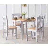 Genoa Oak and Grey 100cm Drop Leaf Extending Dining Table and Chairs - Oak and Grey, 4 Chairs