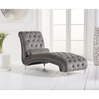 Product photograph showing New York Grey Velvet Chaise Lounge