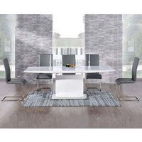 Hailey 160cm White High Gloss Extending Dining Table with Malaga Chairs - Black, 4 Chairs