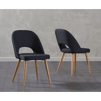 Product photograph showing Halifax Black Fabric Dining Chairs - Black 2 Chairs