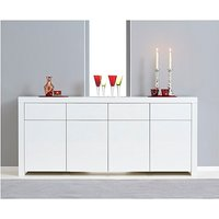 Product photograph showing Ex-display Hampstead 4 Door 4 Drawer White High Gloss Sideboard
