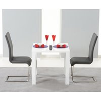 Read more about Atlanta 80cm white high gloss dining table with malaga chairs