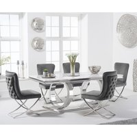 Product photograph showing Harlow 200cm Marble Dining Table With Giovanni Velvet Chairs - Blue 6 Chairs