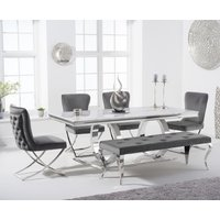 Harlow 200cm Marble Dining Table with Giovanni Velvet Chairs and Fitzrovia Bench - Grey, 2 Chairs
