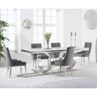 Harlow 180cm Marble Dining Table with Talia Velvet Chairs - Grey, 6 Chairs
