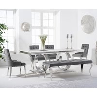 Harlow 180cm Marble Dining Table with Talia Velvet Chairs and Fitzrovia Bench - Grey, 2 Chairs