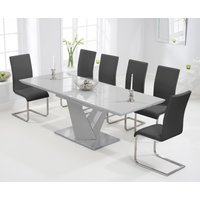 Harmony 160cm Extending Light Grey High Gloss Dining Table with Malaga Chairs - Ivory, 6 Chairs