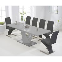 Harmony 160cm Extending Light Grey High Gloss Dining Table with Hampstead Z Chairs - Grey, 6 Chairs