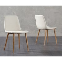 Product photograph showing Ex-display Set Of Two Helsinki Cream Wooden Leg Fabric Dining Chairs