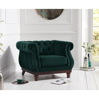 Product photograph showing Henbury Chesterfield Green Velvet Armchair