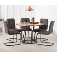 Hoxton 110cm Round Dining Table with Alexa Dining Chairs - Brown, 4 Chairs
