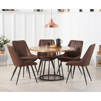 Hoxton 110cm Dining Table Round with Marcel Antique Chairs - Brown, 4 Chairs