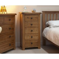 Bramley Oak 5 Drawer Narrow Chest