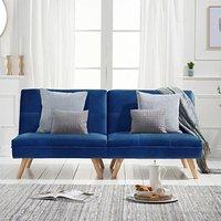 Ivy Blue Velvet 3 Seater Fold Down Sofa Bed