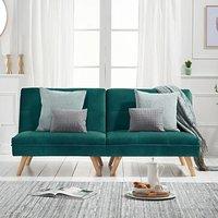 Ivy Green Velvet 3 Seater Fold Down Sofa Bed