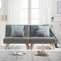 Ivy Grey Velvet 3 Seater Fold Down Sofa Bed