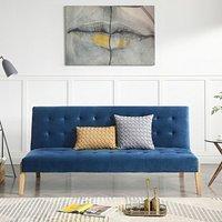 Jericho Blue Velvet 3 Seater Fold Down Sofa Bed