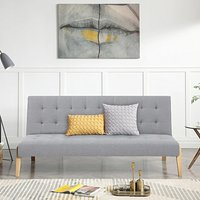 Jericho Grey Linen 3 Seater Fold Down Sofa Bed