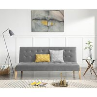 Jericho Grey Velvet 3 Seater Fold Down Sofa Bed