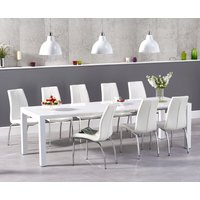 Joseph Extending White High Gloss Dining Table with Cavello Chairs