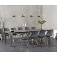 Read more about Joseph dark grey high gloss extending table with celine chrome leg chairs