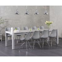 Read more about Joseph light grey high gloss extending table with celine chrome leg chairs