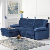Josephine Blue Velvet Left Hand Facing Corner Sofa Bed