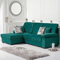 Josephine Green Velvet Left Hand Facing Corner Sofa Bed