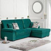 Josephine Green Velvet Right Hand Facing Corner Sofa Bed