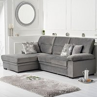 Josephine Grey Velvet Left Hand Facing Corner Sofa Bed