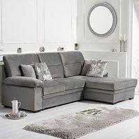 Josephine Grey Velvet Right Hand Facing Corner Sofa Bed