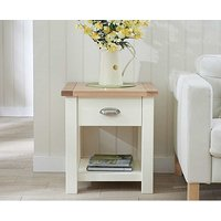 Product photograph showing Ex-display Somerset Oak And Cream Side Table