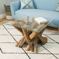 Product photograph showing Lyre Branchwood Teak Square Coffee Table With Glass Top