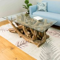 Product photograph showing Lyre Branchwood Teak Rectangular Coffee Table With Glass Top