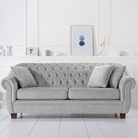 Lilly Chesterfield Grey Plush Fabric Three-Seater Sofa