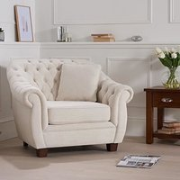 Lilly Chesterfield Ivory Linen Fabric Armchair