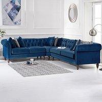 Limoges Medium Blue Velvet Corner Sofa