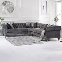 Limoges Medium Grey Velvet Corner Sofa