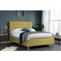 Product photograph showing Lox 120cm Small Double Ottoman Bed In Mustard