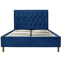 Product photograph showing Lox 120cm Small Double Ottoman Bed In Blue