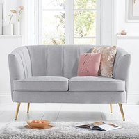 Product photograph showing Lucern Grey Linen 2 Seater Sofa With Gold Legs