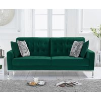 Product photograph showing Ex-display Lydia Green Velvet 3 Seater Sofa