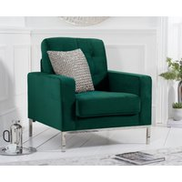 Product photograph showing Lydia Green Velvet Armchair
