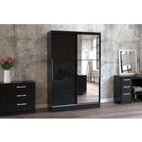 Product photograph showing Adalee Black 2 Door Sliding Wardrobe With Mirror
