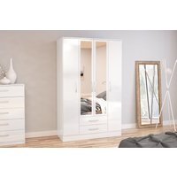 Product photograph showing Adalee White 4 Door 2 Drawer Wardrobe With Mirror