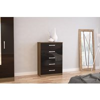 Product photograph showing Adalee Walnut Black 5 Drawer Chest