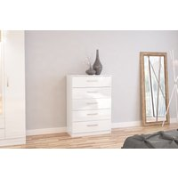 Product photograph showing Adalee White 5 Drawer Chest